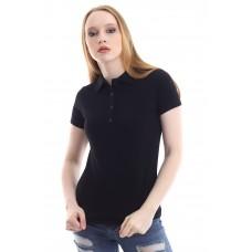 Kadın Polo Yaka T-shirt Siyah